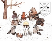 Lumberjack and Forest Friends Around the Bonfire Illustration - Immediate Hi-Res Download