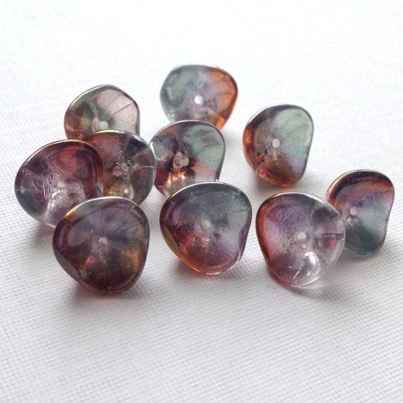 Three Petal Flower Czech Glass Bead Jet Black 12 Czech: Czech Glass Flower Beads: Three Petal Luster By