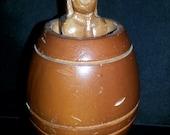 Vintage Naked Naughty Man in a Barrel Pop Up Wood Souvenir