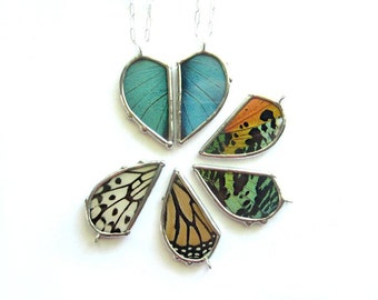 2 Butterfly Love Necklaces- Wing it! Two halves make a heart, friendship, best friends, mother daughter, BFF, real butterfly wings