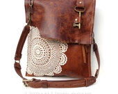 Leather Boho Messenger Bag with Antique Key and Crochet Lace - Large Deluxe Hanging Key Style - Adjustable Buckle Strap - MADE TO ORDER