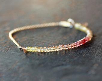 Saffron Sapphire Beaded Bracelet, Ombre Bracelet, Genuine Gemstone Color Spectrum, Ombre Jewelry, Bright Yellow Deep Red, 14k Gold Filled