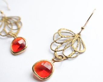 The Vargas- Red Crystal Dangle Statement Earrings