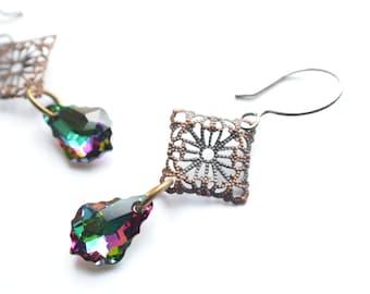 The Natalee- Swarovski and Brass Filigree Dangle Earrings