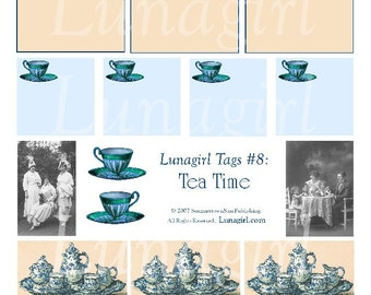 TEA TIME digital collage sheet party invitations Tags Labels Blue Teacups china Victorian vintage images altered art printables DOWNLOAD