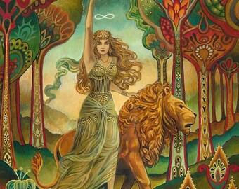Strength Tarot Goddess Art Nouveau Psychedelic 5x7 Greeting Card Pagan Mythology Psychedelic Bohemian Gypsy Goddess Art