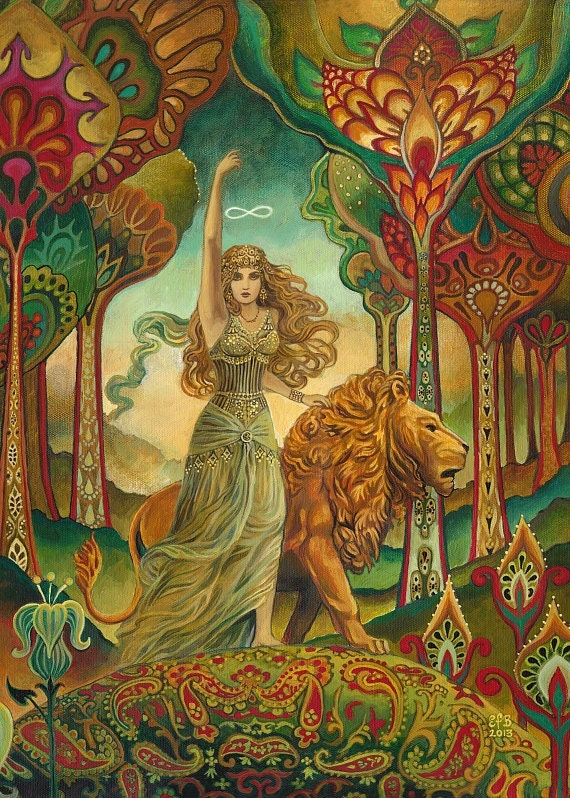 Strength Tarot Goddess Art Nouveau Psychedelic 5x7 Greeting