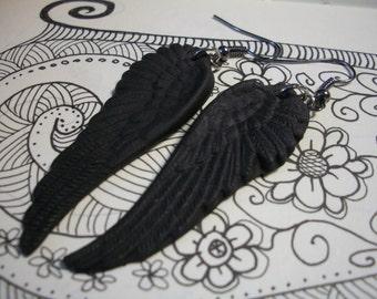 Raven crow wings earrings matte black gothic jewelry