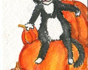 Black and white cat watercolor painting, Pumpkins Original ACEO watercolor art,  Fall, Thanksgiving decor Fall decor