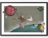 Cat Art Print  - Space craft illustration - A5  - giclee print limited edition - A5 only - capybara cats