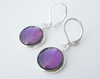 Lavender Pink Nail Polish Earrings - Eris IndigoBananas Duo Chrome Shimmer Jewelry