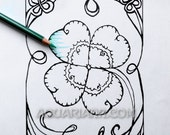 4 Leaf Clover Printable - St. Patrick's Day Coloring Page - Shamrock Art Card DigiStamp
