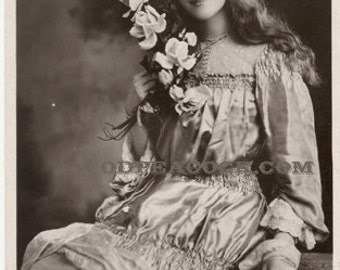 Phyllis Dare lily theater actress postcard British photo stage woman girl flower