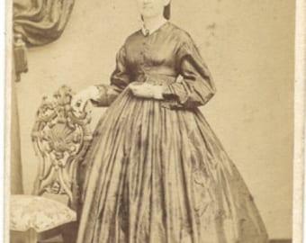 Civil war era revenue stamp lady Lancaster Pa. dress antique photo cdv hoop fashion