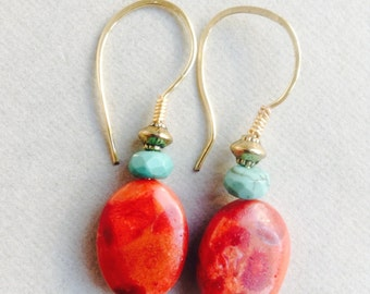 Coral turquoise earrings