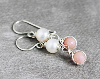 Peru pink opal white freshwater pearl sterling silver wire wrapped earrings - Philtron