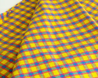 Vintage Plaid Fabric Woven Cotton Yellow Blue Green Fuschia 4 Plus Yards Sewing Fabric