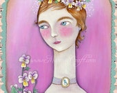 "Pansy violets art print, ""Sugared Violet"""