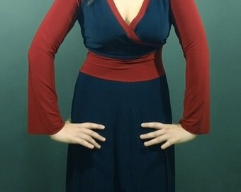 Raglan sleeve Colorblock Midi Dress with sleeves, Long Sleeve Dress, Women's Dress, Jersey, Dark Navy Blue and Red other colors all sizes