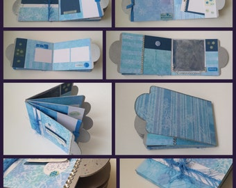SALE Mini Scrapbook Album Winter Snow Shelf Decor / Blue Skating Memory
