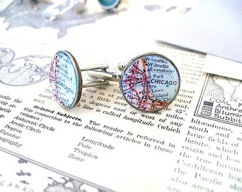 Chicago Map Cufflinks - Chicago Map Coin Dime Cufflinks  - Chicago Cufflinks - Eco - Chicago Man - the windy city - chi town
