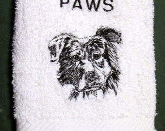Australian Shepard Dog  Wipe My Paw White Bath Hand Towel Machine Embroidery
