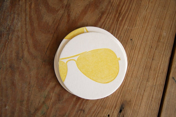 Aviators: Letterpress Coasters from the Eyewear Collection (10ct)
