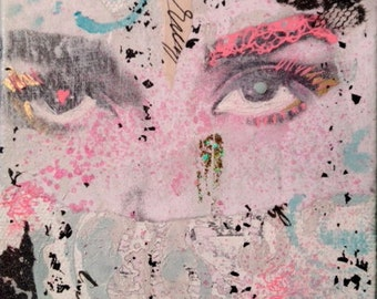 Mixed Media Surreal Graffiti Pop Art Audrey Hepburn Eyes Collage on 4x4 inch Canvas in Black, White, Teal, Pink and Gold
