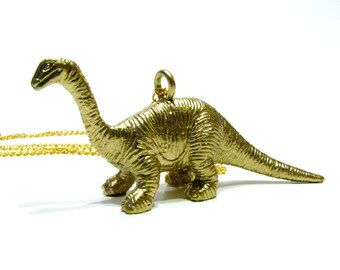 Gold Herbivore Dinosaur Necklace - Choose Your Dino! Triceratops, Stegosaurus, Brachiosaurus & More - Paleontologist Chic