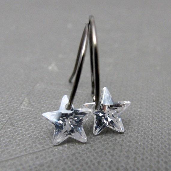 North Star Hoop Earrings // Clear Zirconia Stars // Gunmetal Hoops // Last Piece