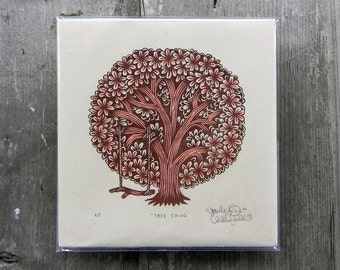 Tree Swing - Woodcut Print, Woodblock Print by Tugboat Printshop