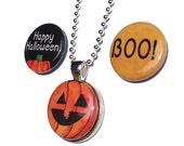 Halloween Necklace - Interchangeable Magnetic Pendant with 3 Halloween magnets, pumpkin, boo, happy halloween jewelry