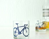 4 bicycle rocks or pint glasses, blue bike screen printed glassware