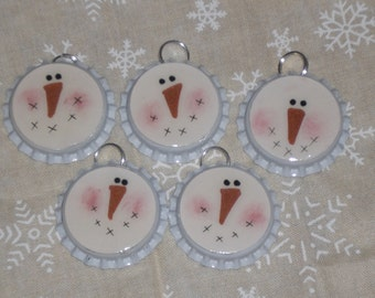 5 White Bottle Caps Christmas Holiday Snowman Faces Charms Ornaments Ornies Party Favors Scrapbooking Ornies Gift Ties