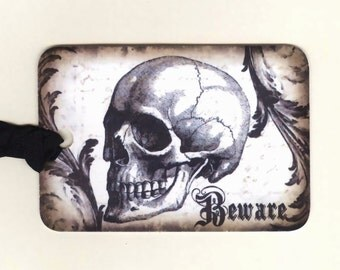 Halloween Tags , Skull Tags , Beware , Gothic