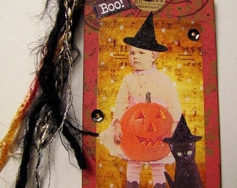 Collaged Shipping Tag - Altered Art - Vintage Halloween - FREE US SHIPPING
