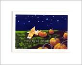 """Evie Anderson Pembroke Welsh Corgi Dog Art SIGNED PRINT """"Pumpkins & Stars""""  (signed, matted)"""