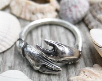 Seashell crab CLAW sterling silver sea shell ADJUSTABLE bypass ring sz 6 to 9 cancer zodiac
