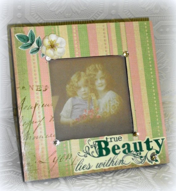 Cottage Shabby Chic Embelished Altered Art Pink and Green Picture Frame - Perfect for Decorating A Little Girl's Room or Gift for Friend