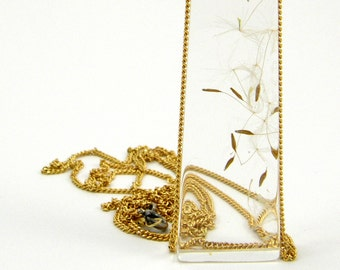 Fashion Necklace, Geometric Dandelion Seed Resin Necklace with Long Gold Chain, Fashion Jewelry