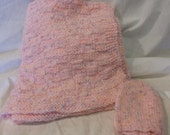 Knitted Pink Baby Blanket with Hat #5057
