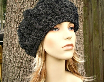 Crochet Hat Womens Hat - Oversized Monarch Ribbed Beret in Charcoal Grey Crochet Hat - Grey Hat Grey Beret Grey Beanie Womens Accessories