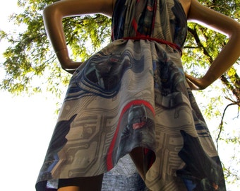 Batman Dress OOAK Upcycled Mom Party Maternity Bat Man Hero Gray Comic Con Convertable Geek Sundress Blue Black Adult M L XL 1X Plus Size