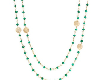 Green Onyx Gemstone and Disk - Long Necklace