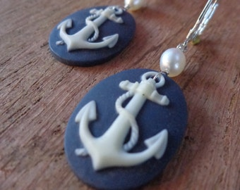 Rockabilly Anchor Earrings with Pearls
