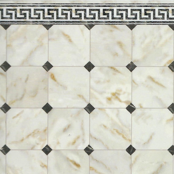 Faux Marble Tile . Dollhouse Flooring . High Gloss Sheet Paper