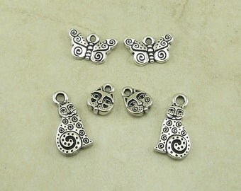 6 TierraCast Laurel Burch Cat and Butterfly Charms Mix Pack > Zen Doodle Kitty - Silver Plated Lead Free Pewter - I ship Internationally
