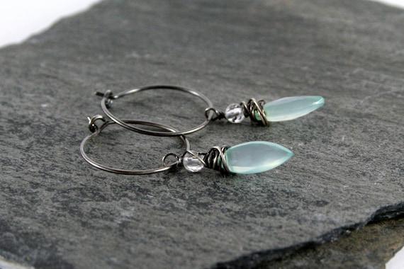 Celery Green Chalcedony Gemstone Sterling Silver Hoop Earrings