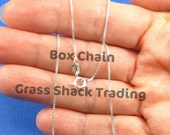 16, 18, 20, 24, 30, 36 Inch Sterling Silver Box 015 Chain for Necklace .9mm Style no. 121