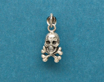 Sterling Silver Skull and Crossbones Pirate Mini Charm for Bracelet or Anklet no. 1789